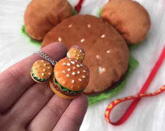 necklace inspired by my pal mickey and yummy hamburgers