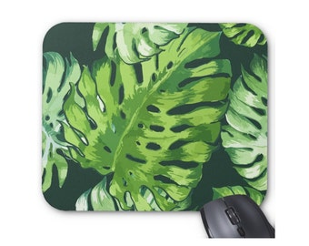 Watercolor Tropical Leaves Print Mouse Pad, Colorful Vintage Floral/Botanical Mousepad