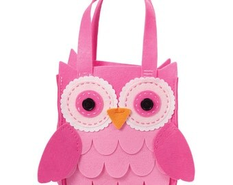 DIY Felt Owl Bag Kit, Pink Owl make your own Bag Kit, Owl Kit for girls,Birthday gift for crafters, learn to sew gift for kids