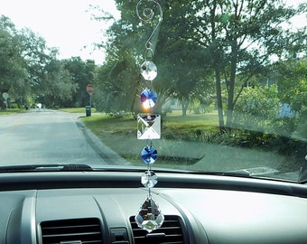 Blue Crystal Suncatcher, Rearview Mirror Car Charm, Rainbow Maker, Car Accessory, Window Decoration, Car Mirror Hanger