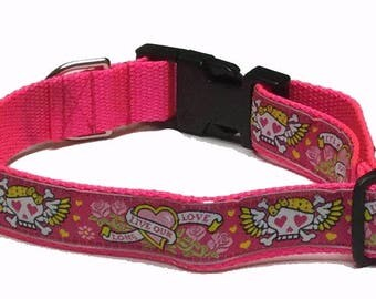 Dog Collar, Tattoo - Pink