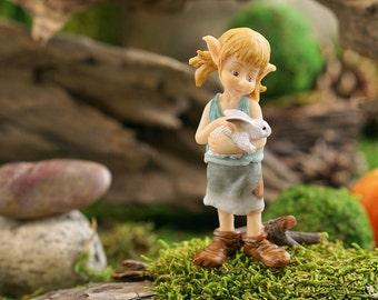 Fairy Garden  - Garden Pixie Hugging Bunny - Miniature