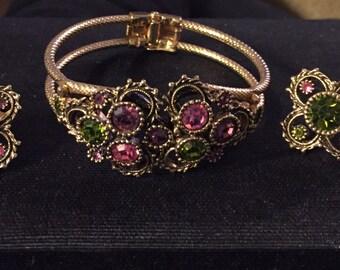 Sarah Coventry rhinestone Bracelet & Earring Set