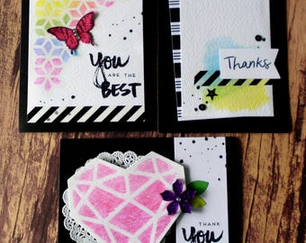 Thank You Card Set of 3, Black and White Stampin Up  Watercolor Thank You Card Set, Paper Pumpkin April 2017 Cards, You are the Best, Thanks