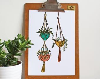 Macrame plants A4 print