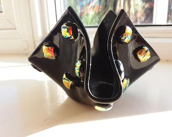 Fused Glass Black and Lava Handkerchief Small Vase