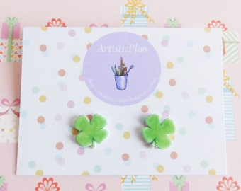 Cloverleaf studs earrings,silver plated backs,illustrastion jewellery,lucky earrings
