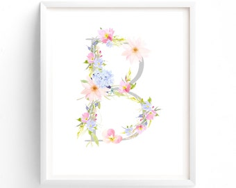 MULTI SIZES, Letter B, Pink and Blue Floral, Printable Monogram, Nursery Art. Art Prints, Baby Girl Nursery, Wall art Prints