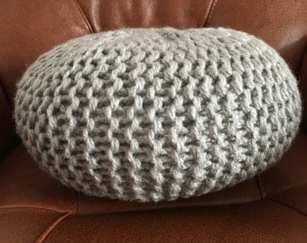 Small light grey hand knitted pouf ( FREE shipping in the U.K. )