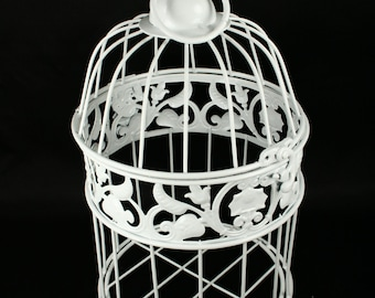 Small Decorative White Metal Bird Cage Wedding or Home Table Decor Choose Size