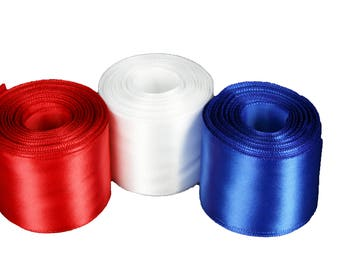 PATRIOTIC Set of 3 Rolled up SF SATIN Ribbon Red, White and Blue Choose Width Size