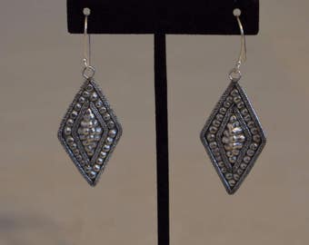 Earrings Silver Miao /Hmong Etched Overlay Triangle Dangle Hill Tribe Handmade Triangle  Etched Dangle Tribal Silver Earrings