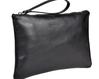 Black Leather Clutch with Jade Satin Lining