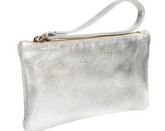 Silver Leather Wristlet Purse with Emerald Satin Lining
