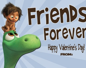The Good Dinosaur Valentine Cards Print at Home File - Will Customize with Child's Name