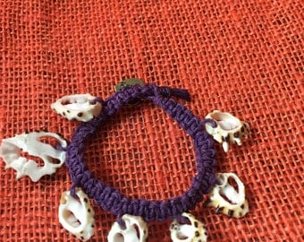 Purple Hemp Bracelet With Sea Shell Charms