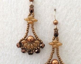 Egyptian Goddess Vintage Inspired Antique Copper Bronze Pearl Crystal Earrings