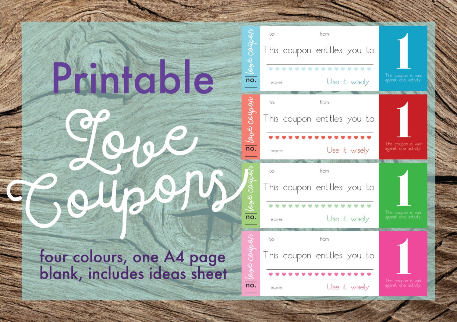 diy love coupons printable love coupons love tokens blank love coupons colourful 4 colours perfect valentine s quirky gift pdf digital