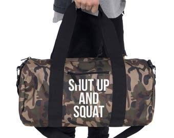 Shut Up And Squat Gym Bag Barrel Duffel Sports Yoga Weightlifting Motivation Training Unisex
