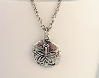 Sand dollar pendant necklace, beach pendant necklace, beach necklace, sand dollar necklace, necklace beach