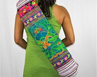 YOGA MAT BAG - Vibrant Colorful Embroidered, Pilates Bag, Hill Tribe Fabric, Yoga Bag, Hmong Bag, Purple Background Fabric, Flower Green
