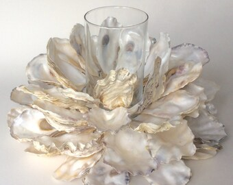 Oyster Shell Candle holder, indoor/outdoor shell art
