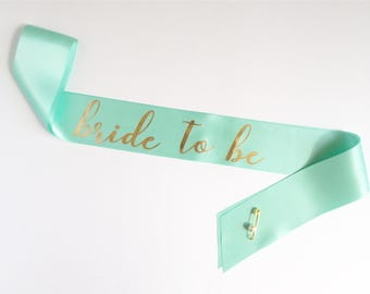 Bachelorette Bride to Be Sash - Bridal Shower - Bachelorette Party - Bride Sash - Gold Font - Breakfast at Tiffany's - Tiffany and Co Blue