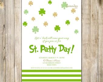 ST. PATTY DAY Party Invitation, St Patrick's Day Invite, Gold and Green Saint Patrick Party Invite, Digital Printable, Lucky Shamrock Clover