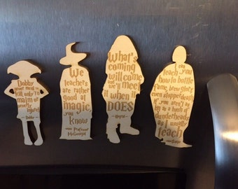 Harry Potter Magnets with Professor McGonagal, Professor Snape, Hagrid and Dobby House Elf