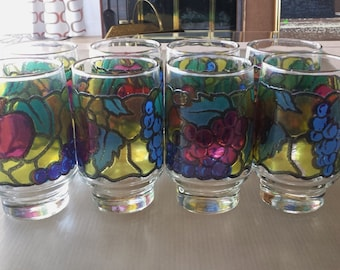 Libbey Glass Stained Glass Fruit Glass Set of 8 Tumblers