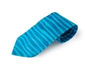 Blue striped silk tie // gift for him // hand painted silk designer tie // men's silk tie // blue stripes // luxury silk tie // handmade