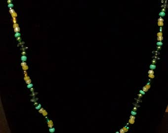 Green Stone & Turquoise Necklace