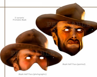 Unique Clint Printable Masks, dress up costumes, actor party, Wild West party mask, birthday, photo props, Mask Cowboy, celebrity mask
