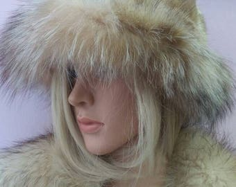 New!Natural,Real MINK modern style Fur HAT with Crystal Fox stripe!!!