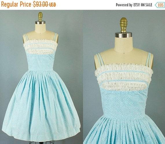SALE 15% STOREWIDE 1950s blue floral shelf bust sundress/ 50s lace spaghetti strap dress/ small