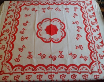 """Vintage 1940's Red and White Floral Tablecloth 44 x 45"""" For Valentine's Day!"""