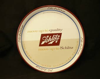 VINTAGE BEER TRAY: Schlitz Brewing Advertising Metal Tray