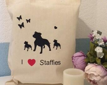 Reusable Tote Bag I love Staffies