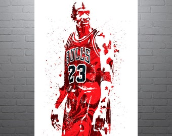 Michael Jordan Chicago Bulls, Sports Art Print, Basketball Poster, Kids Decor, Watercolor Contemporary Abstract Drawing Print, Man Cave
