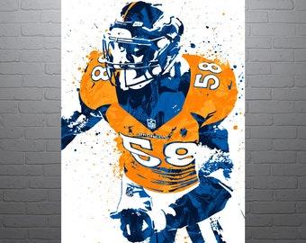 Von Miller Denver Broncos Sports Art Print, Football Poster, Kids Decor, Watercolor Contemporary Abstract Drawing Print, Modern Art