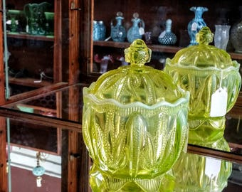 Fenton Vaseline Cactus Candy Jar