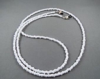 White beaded eyeglasses holder chain ,you choose length , stylish lanyard for holding any eyeglasses or sunglasses new cute design