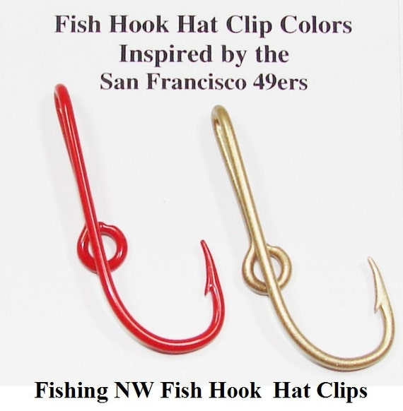 San francisco 49ers inspired colored fish hook hat by for Fish hook on hat