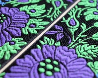 Vintage French jacquard wide ribbon trim, black, purple, vibrant green floral motif  traditional costume design.