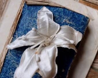 Antique 1900s handmade silk millinery bouquet, ivory lily, wired petal handmade vintage hat boutonniere wedding bride decoration