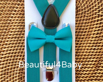 Teal Bow Tie and Teal Suspenders, Teal Baby Bow Tie, Teal Suspenders, Teal Toddler Bow Tie- Teal Bow Tie & Teal Suspender Set- 6 Months to 5