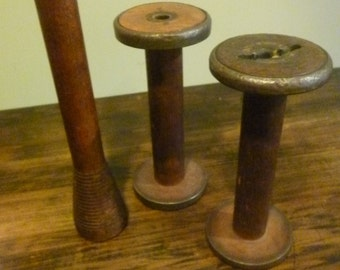 Trio of Vintage Industrial Textile Natural Wood Spools