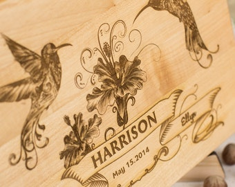 Cutting board rustic cutting board personalized, birds cutting board. FREE - Gift Wrap!!!