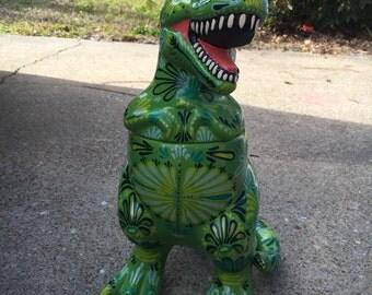 Dinosaur cookie jar - T-rex - Tyrannosaurus Rex - painted cookie jar - dino decor - kitchen decor - cookie jar - green decor - dinosaur