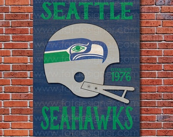 Seattle Seahawks - Vintage Helmet - Art Print - Perfect for Mancave